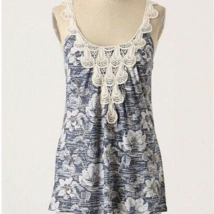 2/$15 C. Keer Anthropologie Print Lace Beaded Top
